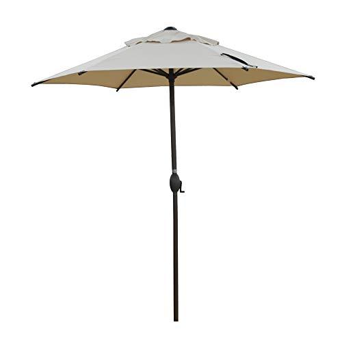 Abba Patio 7.5ft Patio Umbrella Outdoor Umbrella Patio Market Table Umbrella with Push Button Tilt and Crank for Garden, Lawn, Deck, Backyard& Pool, Beige
