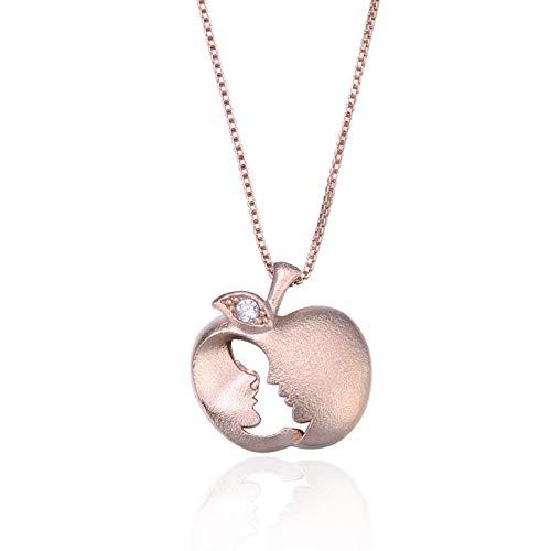 VBN S925 Diamantes De Plata Esterlina Amantes De La Manzana Collar De Silueta Colgante Temperamento Clavícula Cadena Accesorios Joyería