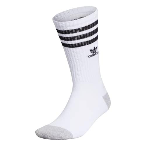adidas Originals Calcetines Roller Crew para hombre (1 par), Hombre, Calcetines Crew, EV7760, Aluminio blanco / negro / jaspeado, Large