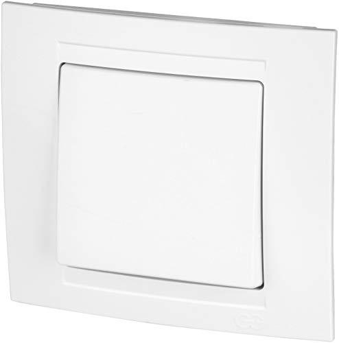 Interruptor de encendido/apagado todo en uno, marco + pieza empotrable + cubierta (Serie M1 de color blanco).