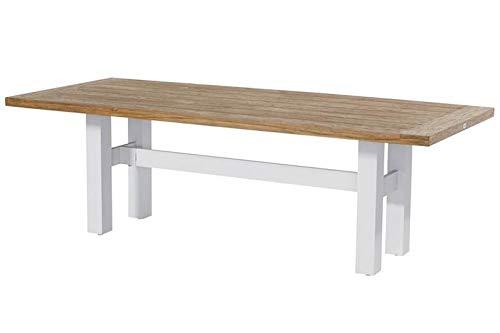 Hartman Yasmani Esstisch, weiß/Vintage Brown aus Aluminium & Teak, 240x100cm, Gartentisch, Gartenmöbel Tisch modern