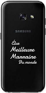 "ZOKKO Case for Samsung A3 2017 -""Best Godmother of the World"" Design - Transparent - White Ink"