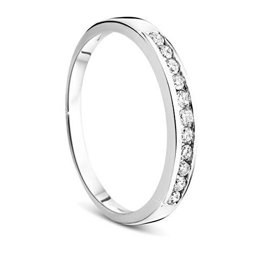 Orovi Damen-Ring Memoire HochzeitsringWeißgold 14 Karat (585) Brillianten 0.20 carat Verlobungsring Diamantring