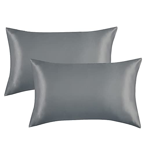 Bedsure Satin Pillowcases Standard Set of 2 - Dark Grey Silk Pillow Cases for Hair and Skin 20x26 inches, Satin Pillow Covers 2 Pack with Envelope Closure