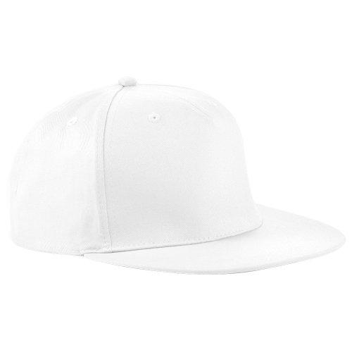Beechfield - Gorra/Visera diseño Rapero/Rapper/Hip Hop/NBA 5 Paneles Modelo Retro (Paquete de 2) (Talla Única) (Blanco)