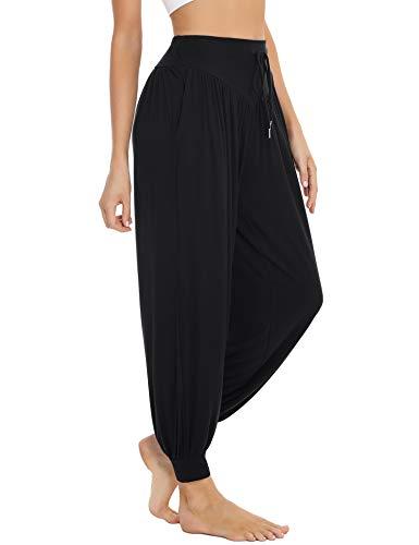 Sykooria Pantalon Sarouel Femme pour Pilate Hippie Yoga Fitness Danse Sport Taille Haute Bouffant Pants,Noir,M