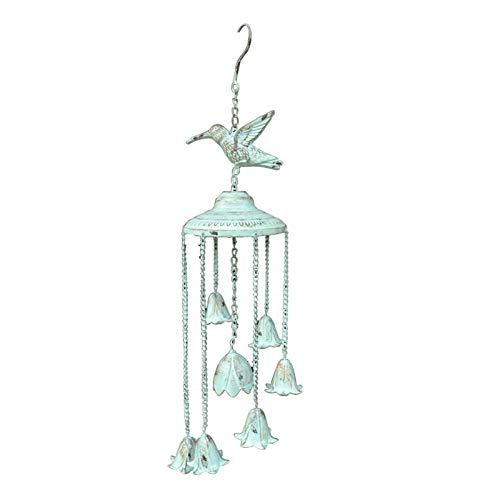 zenggp Große Glocke Aus Gusseisen Mit Barching Birds Garden Windspiel Shabby Chic Distressed Blue,Hummingbird+69cm