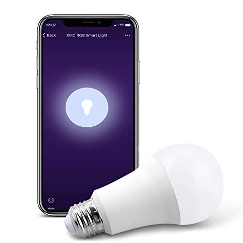 KMC Smart LED Light Bulb, Soft White to Daylight(2700K-6500K), No Hub Required, Compatible with Alexa, Google Assistant and IFTTT, A19 E26 7.5W Equivalent 60W