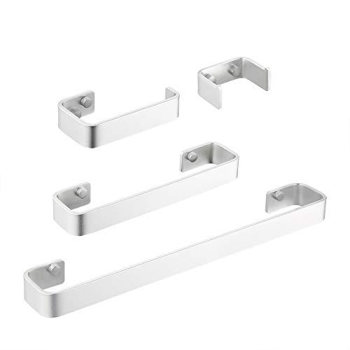 KES Aluminium Badkamer Handdoek Bar Opslag Organizer Hanger Boor Gratis Lijm Muur Mount, a4300-P 4-Piece Accessories ZILVER