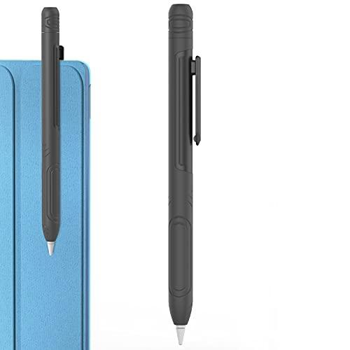 Delidigi Funda con clip para Apple Pencil 1ª generación, carcasa de silicona suave, accesorios compatibles con Apple Pencil 1ª generación (gris oscuro)