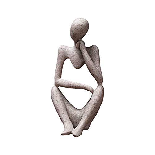 Resin People Abstrakte Denker-Figur Skulptur Europäische Heimdekoration Natur Sandstein Streifen Statue Ornamente
