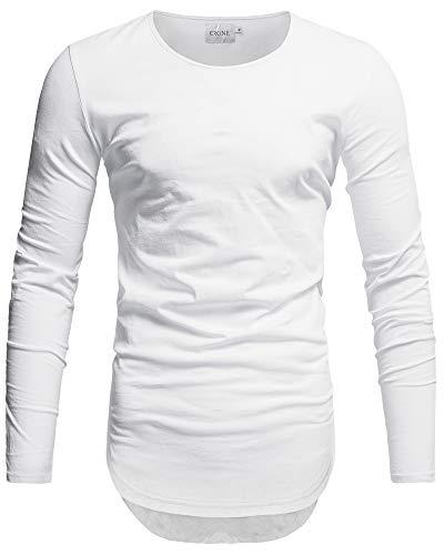 Crone Herren Langarm Shirt Longsleeve Slim Fit T-Shirt Leicht Oversize Basic Sweatshirt in vielen Farben (L, Weiss)