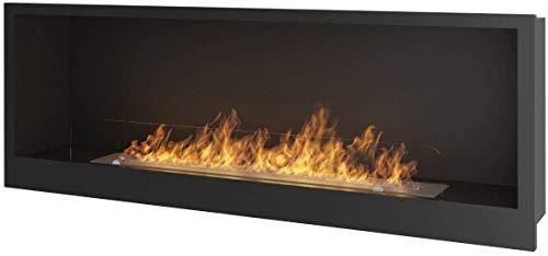 Chimenea de bioetanol empotrable INSIDE1200 con cristal protector incluido marco negro semimate de acero inoxidable