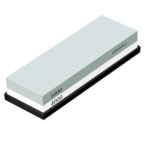 KNIARC Schleifstein, Professionelle 2-IN-1 Doppelseitig Wetzstein Abziehstein für Messer, Körnung 1000/4000 mit rutschfestem Silikonhalter - MEHRWEG