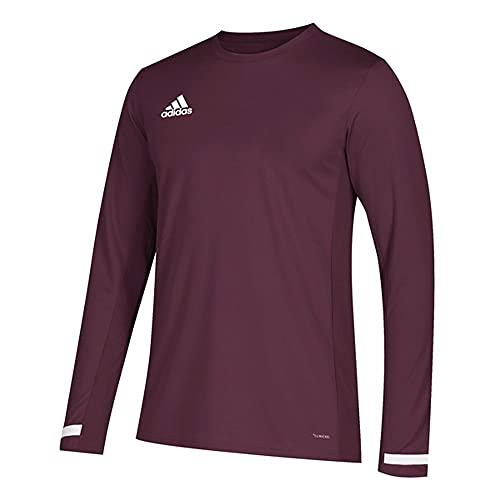 adidas Team 19 Long Sleeve Jersey - Men's Multi-Sport M Maroon/White