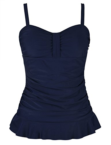 Hilor Women's 50's Retro Ruched Tankini Swimsuit Top with Ruffle Hem Navy 22