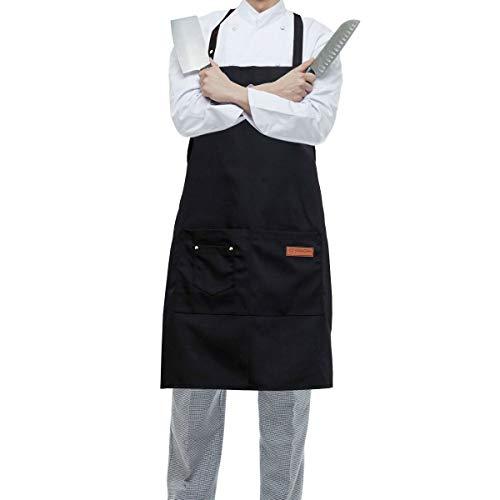 HONZUEN Delantal Cocina Hombre Mujer, Ajustable Delantal Camarero con 2 Bolsillos, Mandil Camarero, Delantal Impermeable, para Cocinar Hornear Barbacoa(Negro)