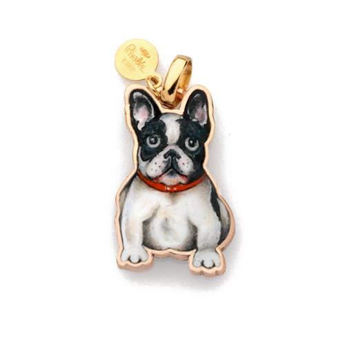 Gabriella Rivalta Colgante de perro bulldog francés dorado y esmalte