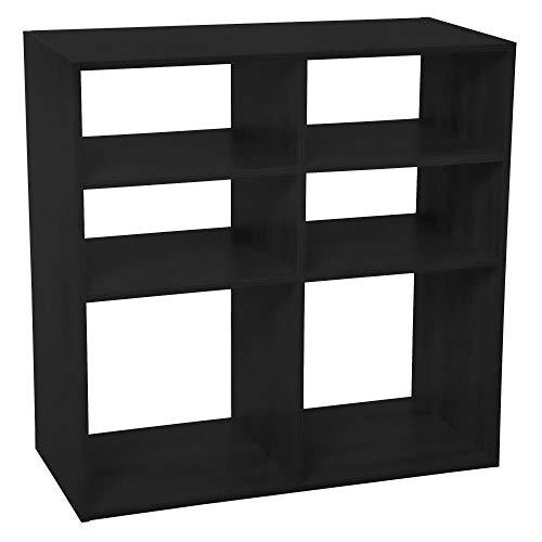 Five - Meuble Etagère de Rangement en Bois Noir 6 Cases Mix n' modul
