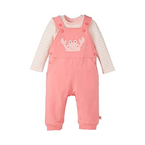 Bornino Seaside Latzhose & Shirt Krabbe (2-tlg. Set) - Sweat-Hose mit Futter & gestreiftes Langarmshirt mit Druckknöpfen - offwhite gestreift/pink