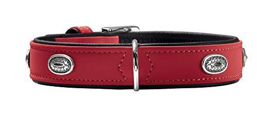 HUNTER SOFTIE STONE Hundehalsband, Kunstleder, mit Applikationen, pflegeleicht, 45 (S-M), rot