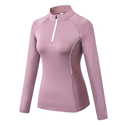 WOWENY Top de Running Ligero con Cremallera de 1/4 para Mujer, Camisetas de Manga Larga...