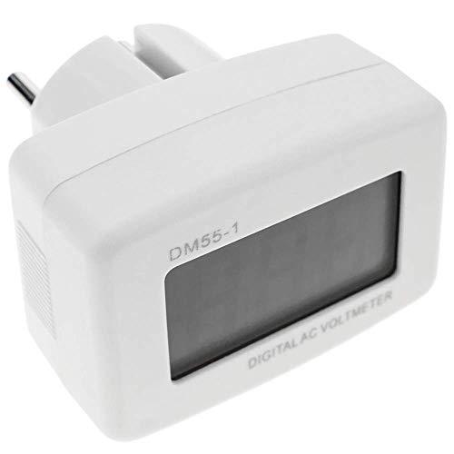 BeMatik - Dubbel 3-cijferig LCD-display met 80-300VAC voltmeter-stekker type schuko