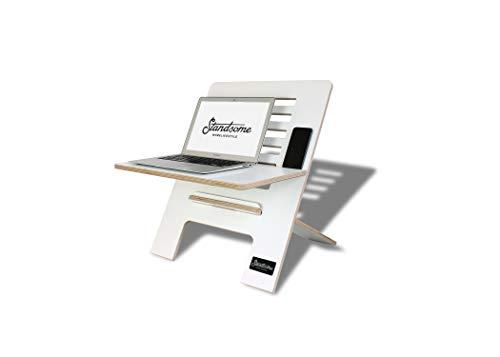 Standsome Slim White – Der Stehschreibtisch Aufsatz aus Holz, höhenverstellbarer Schreibtisch Aufsatz, Sitz Stehtisch weiß und Schreibtisch Erhöhung