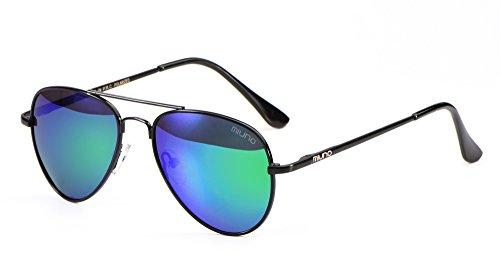 Miuno Kinder Sonnenbrille Metalgestell Pilotenbrille für Jungen und Mädchen mit Etui 4025k (Grünverspiegelt/Schwarzgestell)