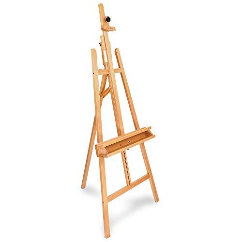 Artina Leinwand Staffelei Holz groß Barcelona - Holz-Staffelei aus Buche - Natur Künstler Staffelei für Keilrahmen bis 120 cm - Malerstaffelei mit Doppelauflage