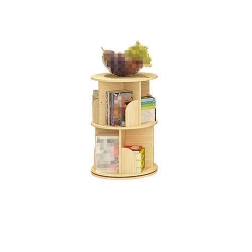 AOIWE Estantería de madera maciza con rotación de 360 grados para niños, estante de almacenamiento de fotos de 2 plantas, estante de esquina simple de escritorio, estantería pequeña