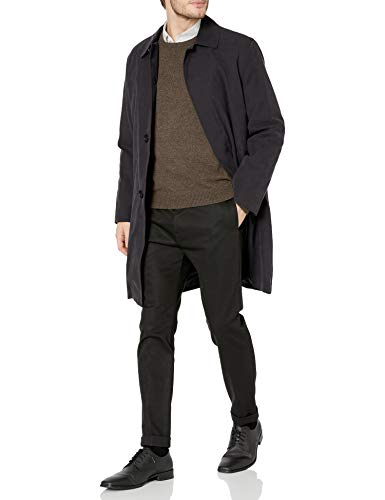 London Fog Men's Durham Rain Coat with Zip-Out Body, Black, 46