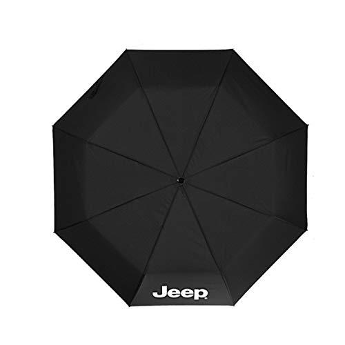YEEXCD Auto-faltender Regenschirm-Reise-Regenschirm Automatischer offener Regenschirm ergonomischer Griff mit Jeep-Logo Winddichte Sonnenschirm