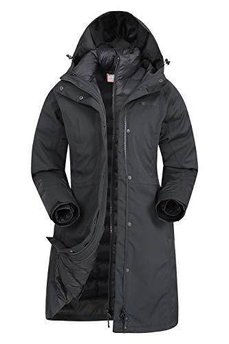 Mountain Warehouse Alaskan Wasserfeste 3 in 1 Damen Winterjacke, Warmer Fleecejacke, Regenjacke, Damenjacke, Funktionsjacke, Allwetterjacke, Doppeljacke, Übergangsjacke Schwarz Jet 52