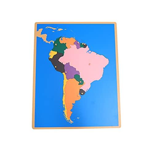 Yx-outdoor Giocattolo del Pannello della Mappa del Sudamerica di Legno Montessori, sussidi didattici di Geografia dell'Illuminismo educativo cognitivo dei Mondi culturali dei Bambini