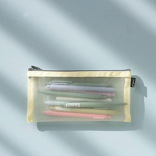 MRBJC Bolsas para lápices de malla, estuche transparente ampliado, organizador de accesorios cosméticos de maquillaje, kit de aseo de viaje, bolsa de almacenamiento amarilla, 21 x 10,5 cm