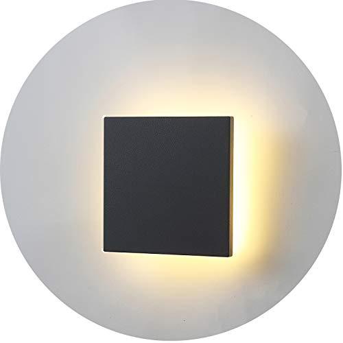 Topmo-plus 8W Lámpara da parete LED OSRAM SMD Luci Muro Applique design per interno/esterno waterproof IP65 alluminio Faretto soggiorno/terrazzo/giardino 3000K bianco caldo 15CM grigio