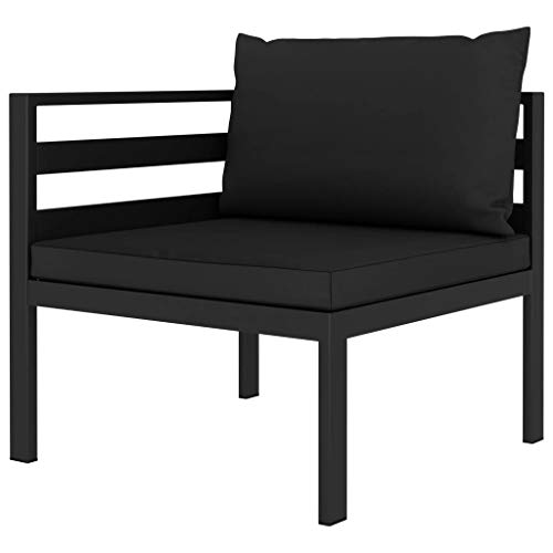Benkeg Sofá Seccional de Esquina con Cojines Aluminio Gris Antracita 70 X 70 X 64,5 Cm Sofá de Esquina Sofás de Jardín en El Interior, Exterior