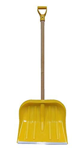 Schneeschieber Schneeschaufel mit Holzstiel Gelb 49cm x 40cm Schiebekante mit Aluprofil verstärkt