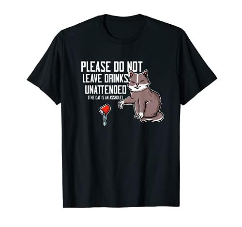 Información divertida para los huéspedes del diseño del amante del gato malvado Camiseta