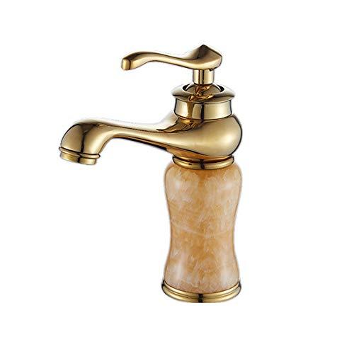 DLGGO Grifo de baño europeo Fregadero de lavabo de latón macizo antiguo Grifos macizos Grifos mezcladores de agua de una manija de lujo Grifo de baño Grifo con acabado dorado Con cerámicas Torneiras P