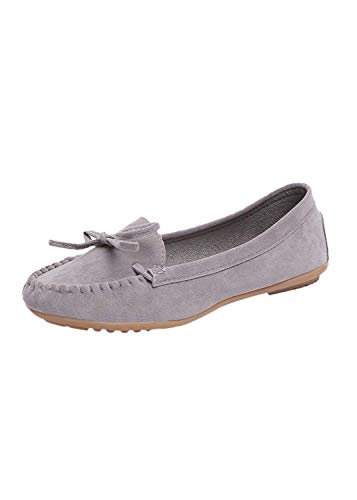 LIMITA Freizeit Damen Round Toe Schuhe Wildleder Slip-On Schuhe Flache Single Schuhe Erbsen Bootsschuhe Damen Basic Geschlossene Ballerinas Damen Mary Jane Halbschuhe