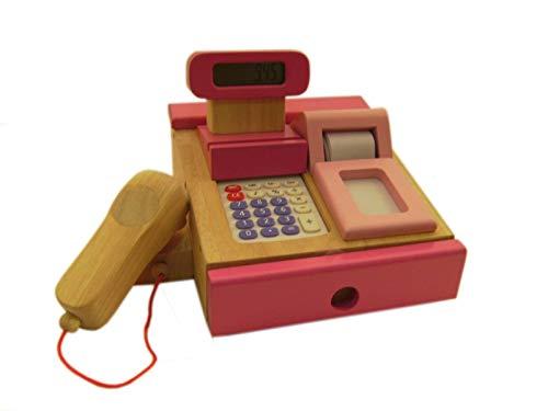 Rosa Kinder Kasse mit Scanner aus Holz, Kaufladenkasse, Kaufladenzubehör