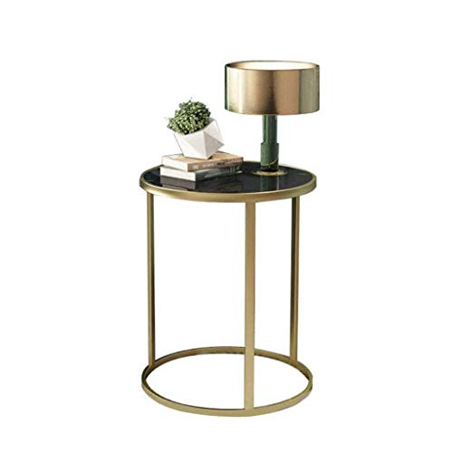 LY88 glazen salontafel bank zijtafel woonkamer smeedijzer kleine ronde tafel