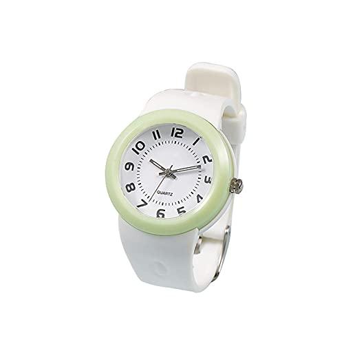 HGJINFANF Los niños Miran el Reloj Impermeable para los niños, Muchachos y niña, Luminoso, Reloj de Cuarzo, Pulsera de Estudiante Reloj Simple (Color : White)