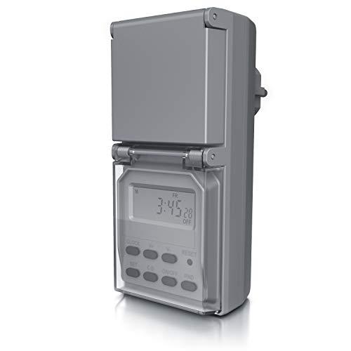CSL - Digitale Zeitschaltuhr Outdoor – Zufallsfunktion – 20 Schaltprogramme – 16 Konfigurationen – Timer - manuelle Unterbrechung – IP44 – Countdown 99 Stunden – Berührungsschutz - grau