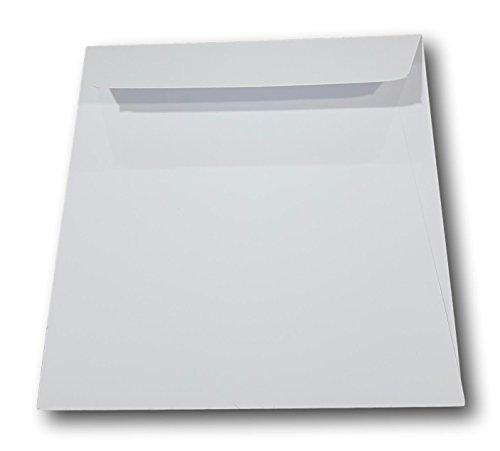 Lot de 100 - Enveloppe blanche Prestige Carré pour carte 165 x 165 mm Papier extra blanc épais 135 g - Patte autocollante pour carte de vœux, noël, invitation et mariage ref UGEVPRR122