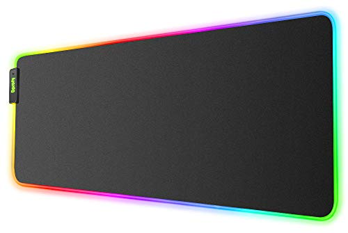 Large RGB Gaming Mouse Pad - Soft Non-Slip Rubber Base Led Mousepad, Thick Computer Keyboard Mice Mat for MacBook, PC, Laptop, Desk(31.5 x 11.8 x 0.15In)
