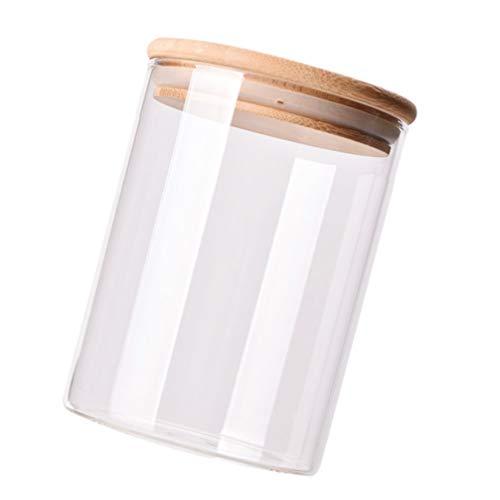 DOITOOL Botella de Vidrio de Borosilicato Vacío Cilíndrico Transparente con Tapa de Bambú Botellas Selladas de Gran Capacidad Frascos de Vial Dispensador de Alimentos Recipiente para