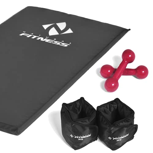 Kit colchonete + Halteres 2kg + Caneleiras 3 kg Academia Fitness Musculação